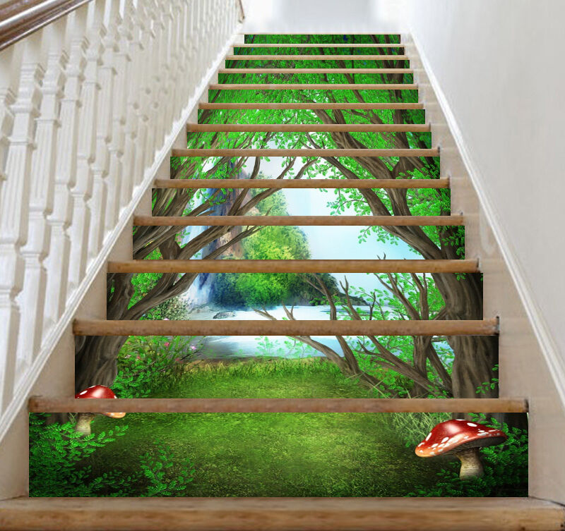 3D Forest, mushroom Stair Risers Decoration Photo Mural Vinyl Decal WandPapier US