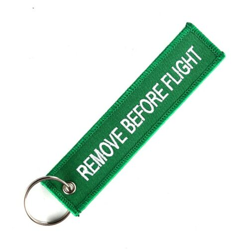 Woven Embroidery Remove Before Flight Key Chain Luggage Keyring Tag Zipper lot