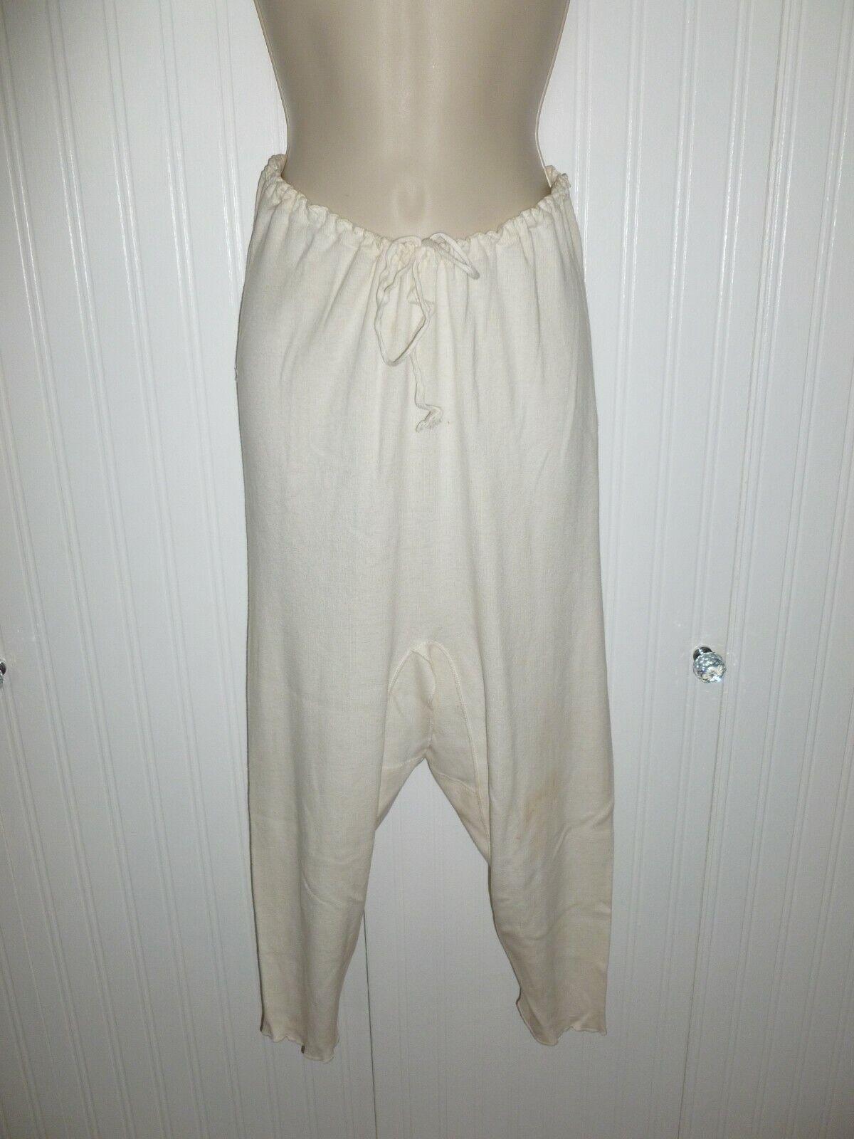 Antique Cotton Knit Union Suit 1920s Vintage Long Johns Long Underwear RH White