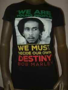 863fea78876 Details about Juniors S-XL Bob Marley We Are Young People We Must Decide  Our Own Destiny Shirt