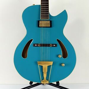 1998 Cort J. Triggs TRG-1 Semi-Hollow Jazz Robin Egg Blue with Roadrunner Case