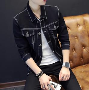 emulsione Ginnasta Socialismo  Mens Denim Jean Slim Fit Ripped Casual Retro Coat Jacket College Blazer  Loose | eBay