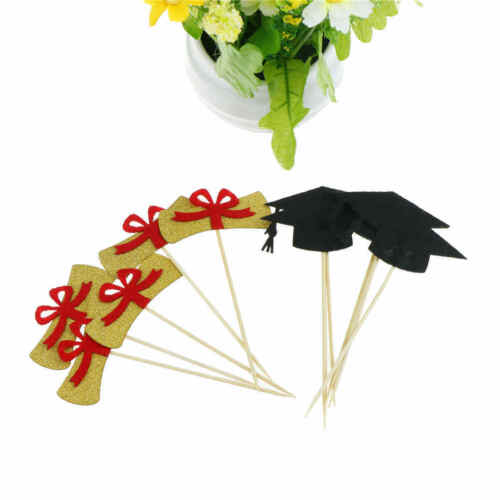 GraduationCake Toppers CertificateCap Cupcake Picks forGraduation Party Decor YH