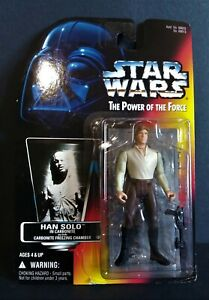 1996 Kenner Star Wars Han Solo Carbonite Red Card Power of the Force 3.75 Figure