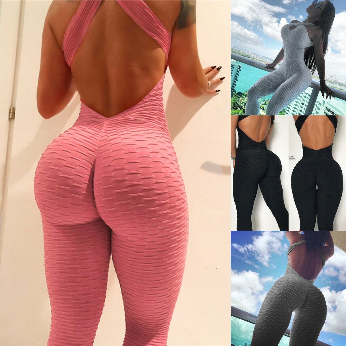 Women Fitness YOGA Leggings Jumpsuit Romper Sports Gym Pants Athletic Clothes s0
