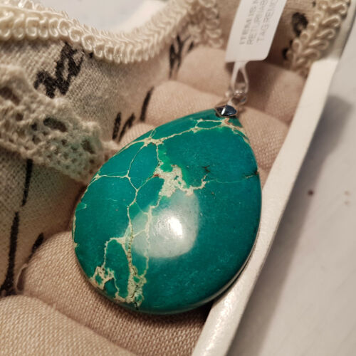 Beautiful 48ct Turquoise Jasper Pendant set in Sterling Silver