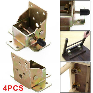 Image Is Loading 4Pcs Iron Folding Table Chair Leg Brackets Hinges