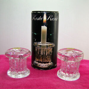 KOSTA-RURIK-Swedish-Glass-Candle-Holders-Hand-Made-in-Sweden-Mid-Century-NOS-NIB