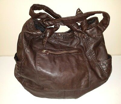 CONVERSE One Star Brown Faux Leather Multi Pocket ShoulderHobo Bag | eBay