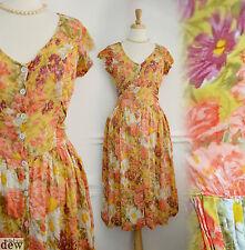 "1940's style dress TEA ww2 LAND GIRL wartime ROMANTIC rayon COTTON GAUZE 10 36"""