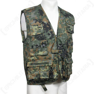 Military Multi Pocket Fishing Shooting Vest Hunting Waistcoat BW Flecktarn S-3XL