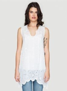 NEW-Johnny-Was-Rayon-Embroidered-Boho-Mod-Eyelet-Top-Tunic-Blouse-Dress-White-S