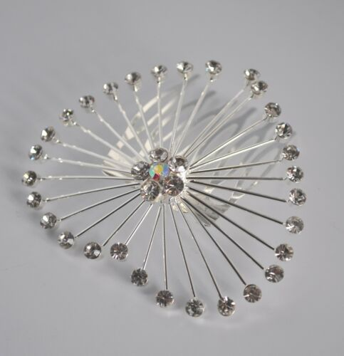 UK Clear crystal//diamante wire heart bridal//wedding//Valentine/'s hair comb//slide