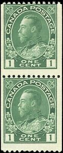 Mint-NG-Canada-1915-24-Pair-1c-Coil-F-Scott-131-King-George-V-Admiral-Stamps
