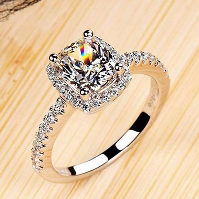 New Fashion Silver Plated White Topaz Gemstone Wedding Rings SIZE 5/6/7/8/9