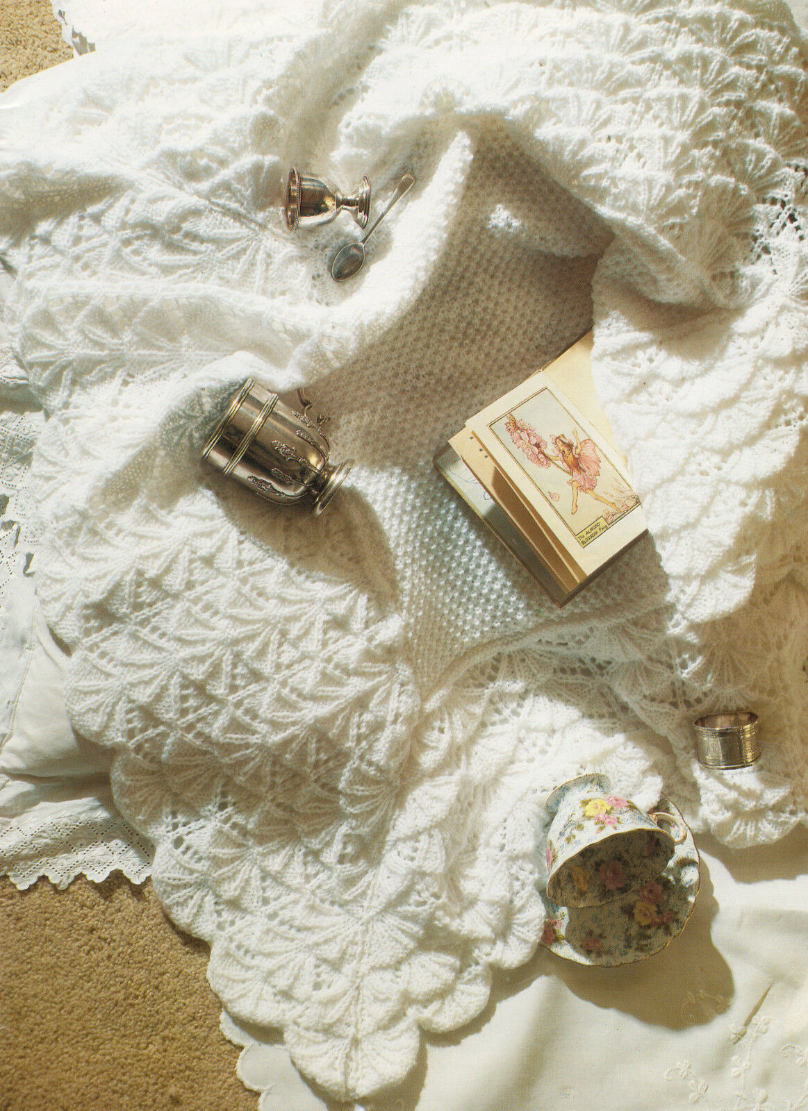 Irish Moss Stitch Baby Shawl ~  Wide Lace Scalloped Border ~ DK Knitting Pattern
