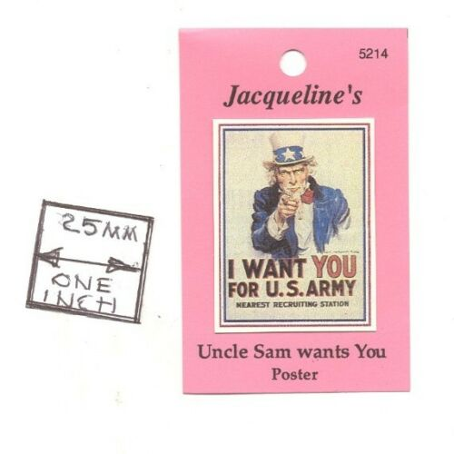 Poster Uncle Sam Wants You for U.S. Army 5214 dollhouse miniature 1/12 scale