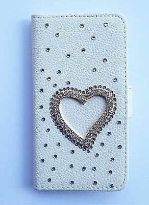 Diamond Crystal Love PU leather flip pouch Case Wallet cover FOR HTC Phones