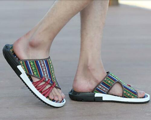 Mens Summer Open Toe Stripe Printed Loafers Casual Shoes Beach Sandals Slippers