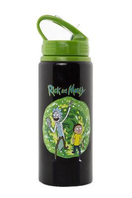 Ufficiale Di Rick E Morty Alluminio Acqua Bevande Bottiglia Con Costruito In Paglia-