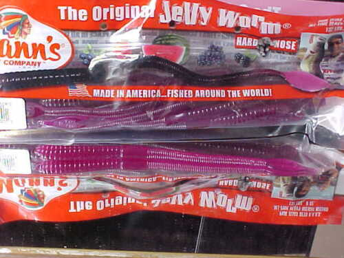 """8/"""" Mann/'s #1 Selling Bass Worm since 1967 GR8-20 in GRAPE for BASS//PICKEREL//PIKE"""
