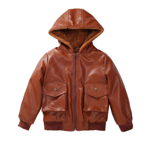 Kids Boys Girl Winter Warm Fleece Lined Leather Jacket Biker Coat Hooded Outwear