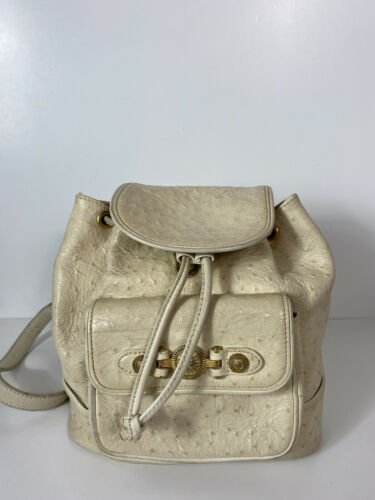 RARE VTG GIANNI VERSACE 90S WHITE OSTRICH BACKPACK - image 1