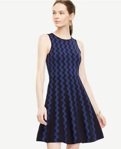 6ccb3a766e6 Ann Taylor Large (12-14) Navy Blue Geo Jacquard Flare Sweater Dress ...