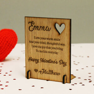 Personalised Wooden Valentine S Day Card Plaque For Him Or Her