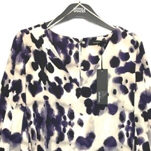 M-amp-S-Marks-s6-Autograph-Luxe-Purple-Animal-Print-Fluted-Sleeves-Blouse-Top-BNWT