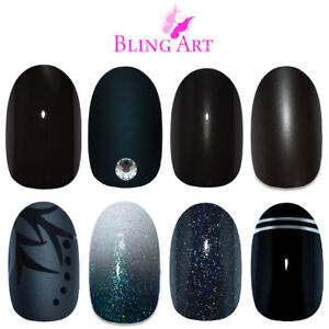 Bling-Art-Oval-Black-False-Nails-Glitter-Matte-Gel-Fake-24-tips-Medium-with-Glue