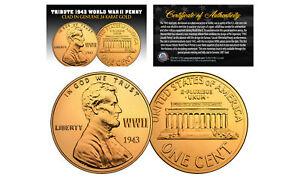 1943-TRIBUTE-Steelie-WWII-Steel-PENNY-Coin-Clad-in-Genuine-24K-GOLD-Lot-of-3