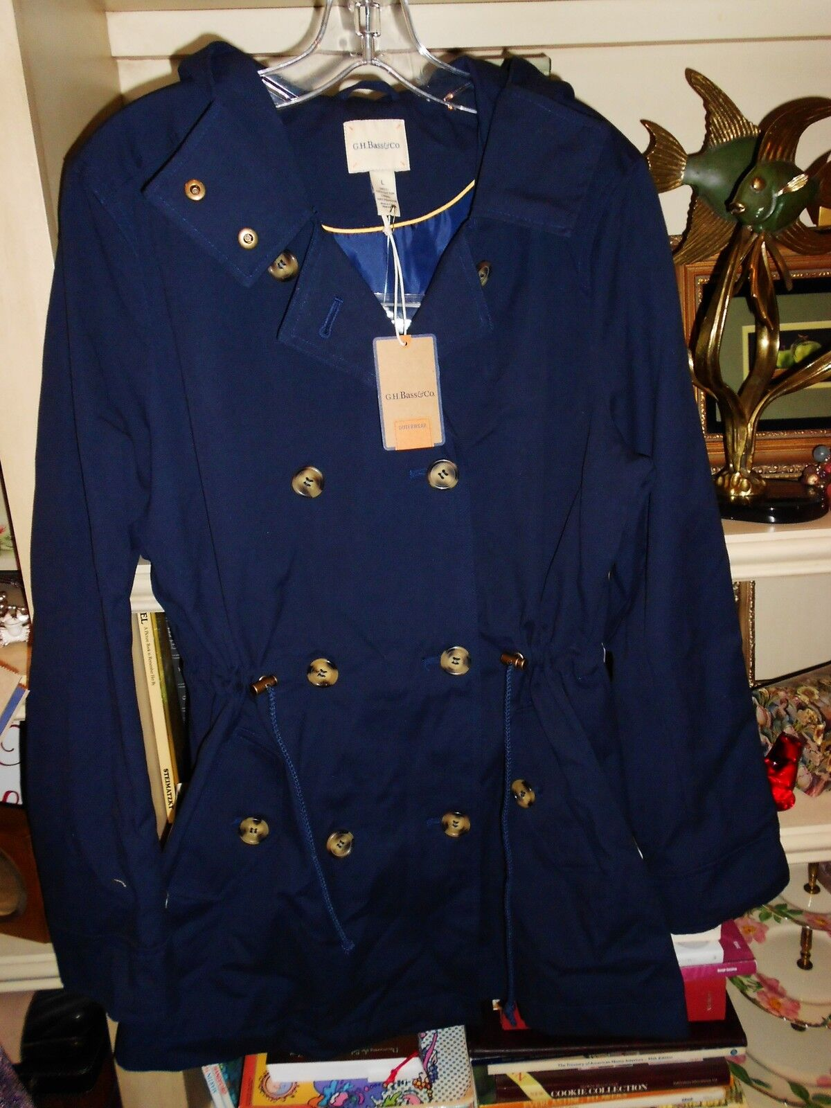 BASS BRAND L MID LENGTH ALL WEATHER COAT COST 148 NAVY NWT CUTE