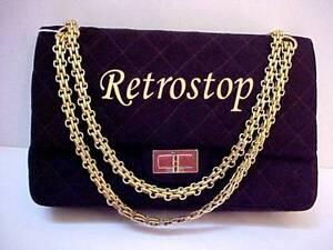21d12987a75af7 Vintage CHANEL 1970's Espresso Jersey Reissue Style Flap Handbag ...
