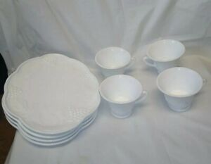Vintage Indiana Colony Glass Harvest Grape Snack Plates and Footed Cups Set of 4