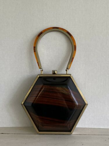 RARE Vintage Lucite Tyrolean Hexagon Shaped Purse