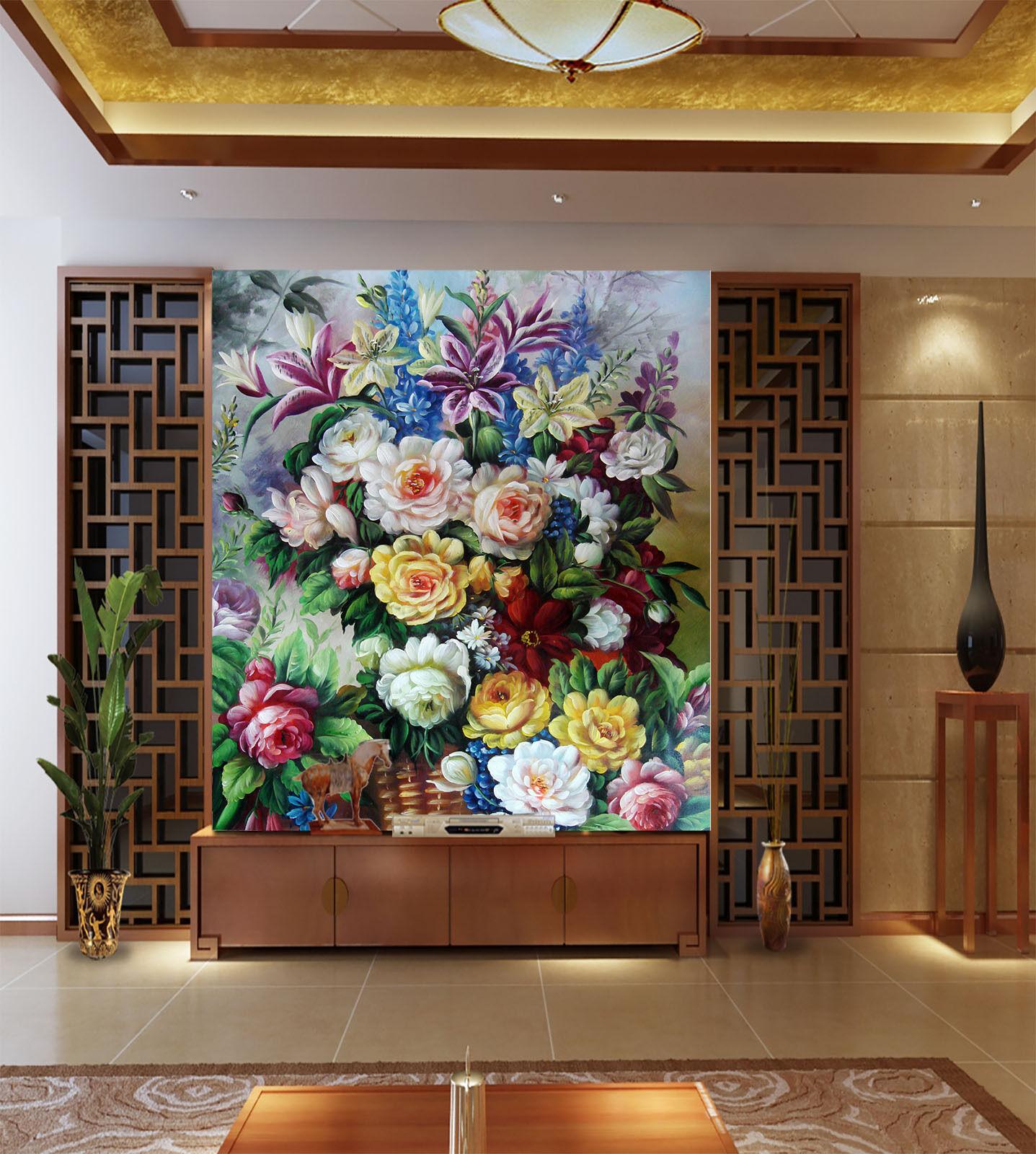 3D Paniers Fleur 42 Photo Papier Peint en Autocollant Murale Plafond Chambre Art