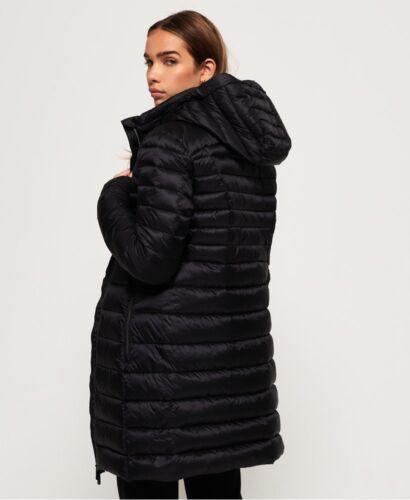SHORT donna Superdry con cappuccio Blisse piumino imbottito nero Fuji Giacca spedizioni internazionali