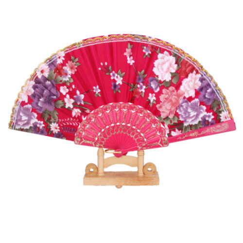 Rose Red Folding Flowers Print Lace Trim Hand Held Fan Home Decor