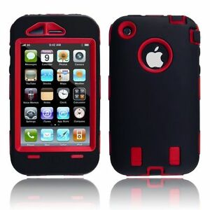 Body-Armor-Hybrid-Shell-Case-Cover-for-Apple-iPhone-3G-3GS-Black-amp-Red