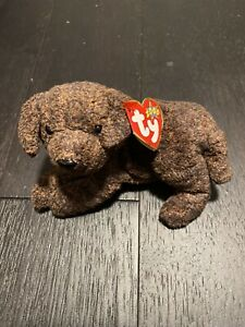 Ty Beanie Babies - Fetcher The Chocolate Lab Puppy Plush Toys Vintage