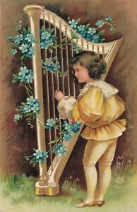 Girl-playing-Harp-Embossed-Vintage-Embossed-Postcard-03-43