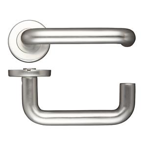Safety Internal Door Handle RTD Return to Door Lever on Push Rose Aluminium Pair