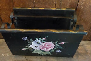 Vintage Folk Hand painted Black Wrought Iron Magazine Rack Gold trim Floral
