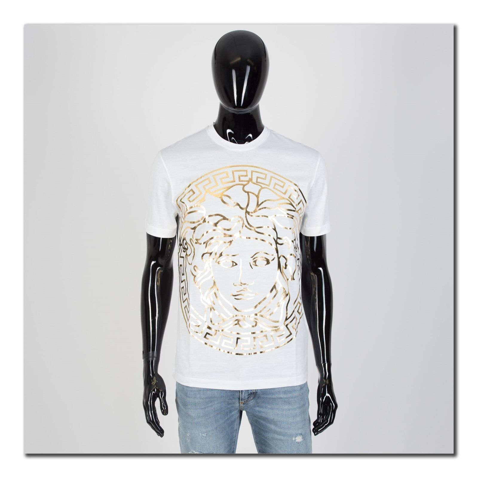 VERSACE 395 Authentic New SS19 Gold Medusa Head Print Tshirt In Weiß Cotton