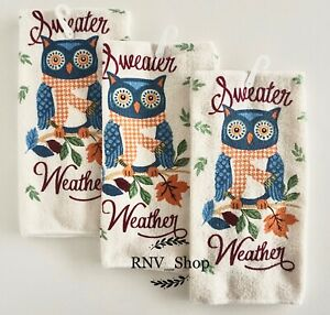New Set Of 3 Sweater Weather Owl Autumn Theme Kitchen Towels Ebay