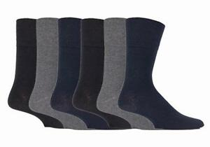 IOMI - Mens 6 Pack Wide Loose Top Non Elastic Thin Cotton Diabetic Socks