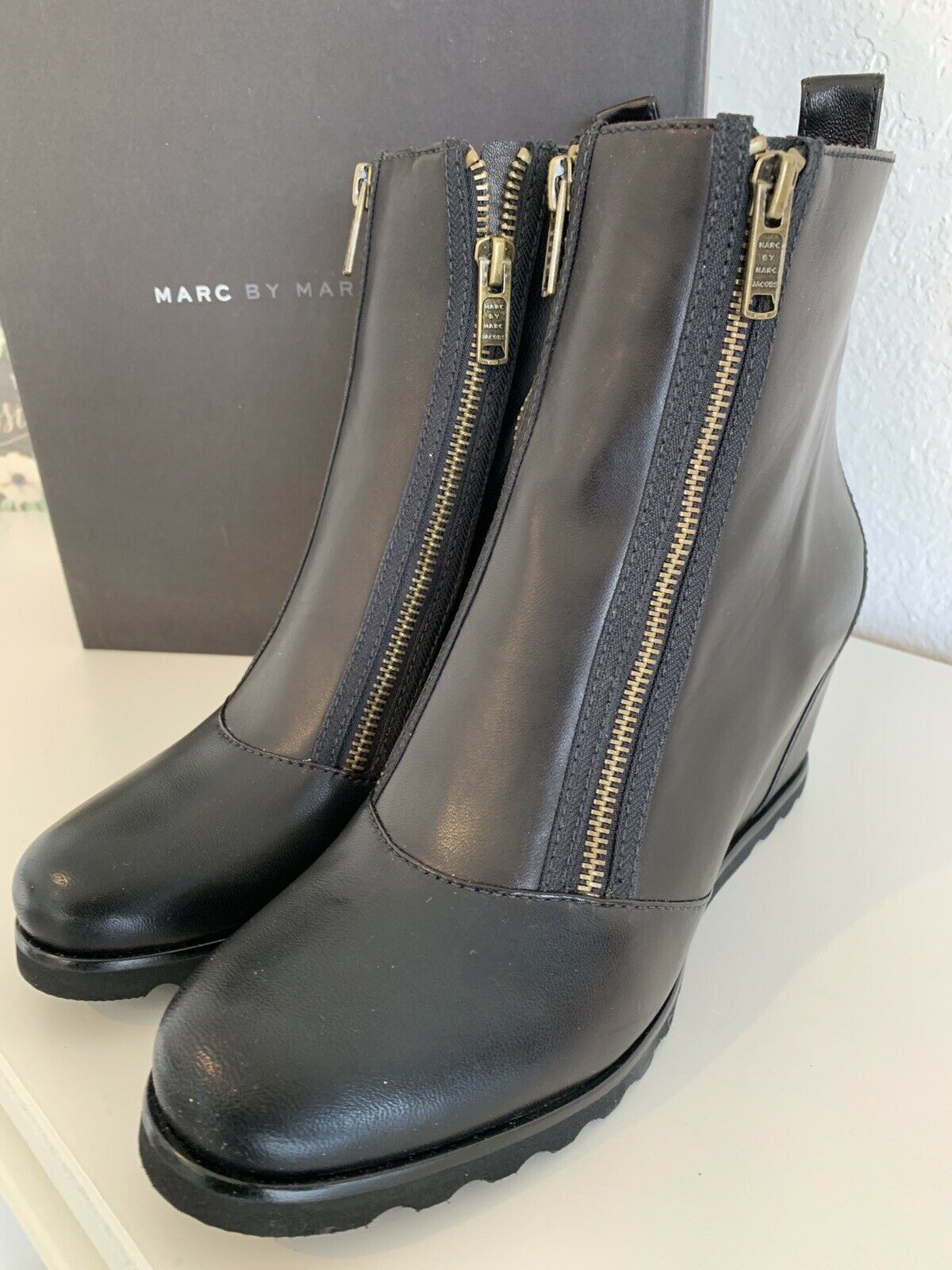 Marc By Marc Jacobs Side Zip Plateform Wedge Ankle Boots As 10.5