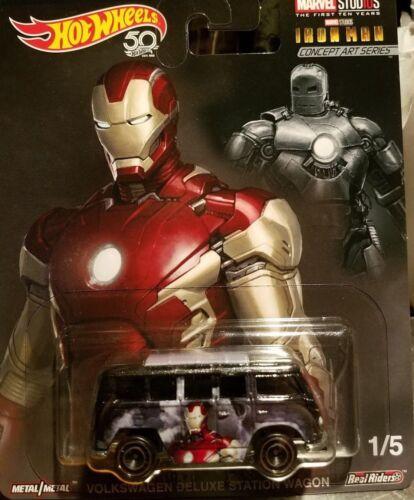 Hotwheels De Marvel Iron Man Volkswagen Deluxe Station Wagon aleaciones neumáticos de goma.