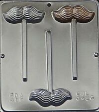 FREE SHIP NEW 3 Cavity MUSTACHE Chocolate Candy Fondant Plaster Clay Lolly Mold
